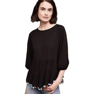 Eri + Ali S Black Top Ruffle accent 3/4 Sleeves